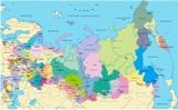Карта России с отображением крупных городов.